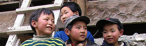 Children in Taiping village. Sichuan province, China. rel=