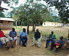 Peny community and WWF staff, talking about how to go about creating a legal association in the village
