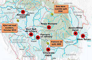 Map showing past industrial spills and potential threats along the Danube.