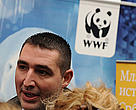 Serbian Minister of Environment and Spatial Planning Oliver Dulic speaks to media at the WWF climate tour in Beograd (September 26, 2008).