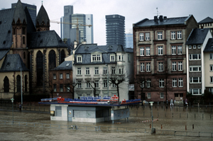 Flooding of river Main  Inundations caused by heavy rain and destruction of floodplain.  Frankfurt ...  	© WWF / Hartmut JUNGIUS