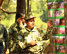 A ranger was showing photos of patrolling activities.