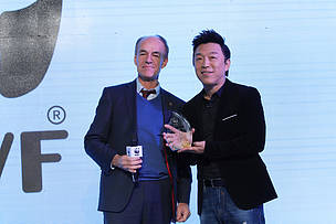 WWF International Director General Marco Lambertini with WWF-China's celebrity ambassador.