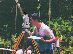 Measuring the height of the waterfall in the Heart of Borneo