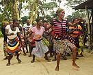 Indigenous people performing traditional dances in Oshwe, DRC