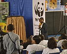 WWF DRC Wildflife Programme Manager addressing students in the conference
