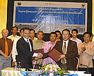 An MoU signing ceremony between WWF-Laos and Department of Livestock and Fisheries on Siphandone Project