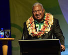 Incoming COP 23 President Fijian Prime Minister Voreqe Bainimarama addressing delegates at the Pre-COP Partnership discussions in Nadi.