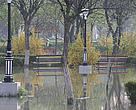 Danube floodwaters in a park from the town of Calarasi, Romania