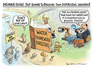 Cartoon, industry destruction of freshwater