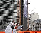 'Toxic family' and WWF REACH banner in front of the European Council in Brussels