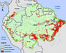 Deforestation in the Amazon Biome based on data from 2009 for Brazil and 2007-2008 for the other countries.