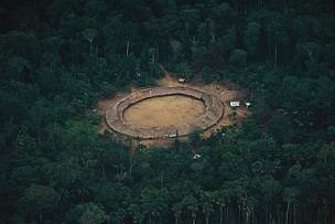Ariel view of traditional Maloka, Yanomami communal dwelling in Roraima, Brazil
