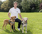 Andy Murray with Border Force sniffer dogs Tyke & Marley. The British tennis player is supporting the training and work of 'Murray' the sniffer dog in Chitwan National Park in Nepal.