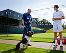 Andy Murray, WWF Global Ambassador meets MET dogs at The Championships, Wimbledon to highlight the role of sniffer dogs in the global fight against the illegal wildlife trade.
