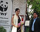WWF Nepal's Young Conservation Ambassador Zenisha Moktan with Country Representative Anil Manandhar