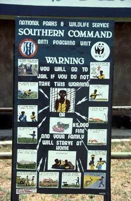 Anti-poaching signboard at Lochinvar National Park Kafue Flats, Zambia. / ©: WWF / Sandra MBANEFO OBIAGO