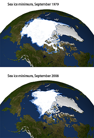 Sea ice extent comparison at the Arctic - mimumum ice reach comparison between 1979 and 2008. / ©: NASA