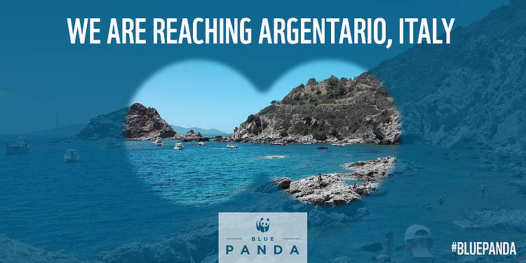 The Blue Panda in Argentario to Stop Plastic Pollution