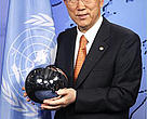 "Ban Ki-moon eighth and current Secretary-General of the United Nations with ""The People's Orb""."