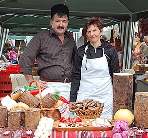 "The Bangala family from Brasov, Romania, show the variety of traditional chesses they make. All their products are ""tradition"" certified, meaning that they are made according to traditional recipes. The raw material comes from their own cows and sheep."