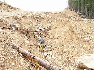 A landslide in the middle of an illegal ski run in Bansko, Pirin National Park, Bulgaria