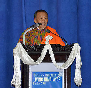 Bhutan's Prime Minister Lyonchhoen Jigmi Y. Thinley speaking at the Climate Summit for a Living Himalayas.