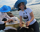 WWF, the local government and VASEP Cab Council release egg-bound crabs as part of an awareness raising event.