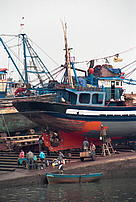 Maintenance of a traditional local fishing boat, antifouling painting of the hull. Essaouira, Atlantic ocean, Morocco.