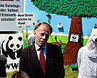 Germany's Minister for Environment, Jürgen Trittin, attends WWF's LEGO renewable energy landscape exhibit in Bonn.
