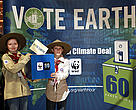Two Scouts, who considerable membership of 28 million members supported WWF's Earth Hour,  handing over the Vote Earth ballot box at the UNFCC intereseesional meetings in Bonn.