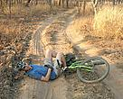 Tracking leopards by mountain bike can be quite dangerous...