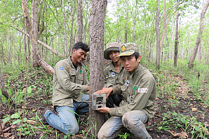 Setting up a camera trap in Mondulkiri Protected Forest