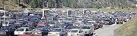 Crowded car park near Zermatt, Switzerland  	© A. Weissen / WWF European Alpine Programme