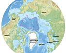 The international waters of the central Arctic are outlined in red.