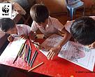 Children color images of extraordinary Cambodian wildlife in environmental lessons around Mondulkiri Province.