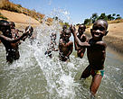 Children in Great Ruaha River Tanzania