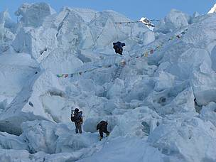 Climbers at the Khumbu Icefall