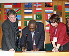 Mamadou Diallo from the WWF-West African Marine Ecoregion Programme signing a new intergovernmental agreement to conserve the West African Manatee and Small Whales in Western Africa and Macaronesia. CMS, December 2008.
