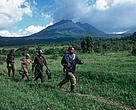 Park guards patrolling on the boundary of Virunga National Park.  Democratic Republic of the Congo.