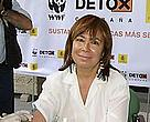 Spanish Environment Minister Cristina Narbona taking part in WWF's chemical check-up.
