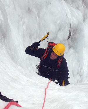 Neil Smith, Climate Witness from the UK,  ice climbing in the Scottish Highlands.