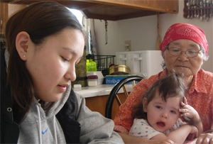 A student interviews a Unalakleet elder about the changes in climate that she has witnessed in her ... / ©: Henry Oyoumick
