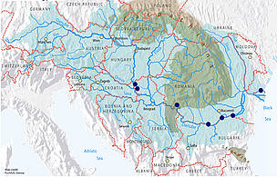 This map of the Danube-Carpathian region shows the location of the natural treasurs that may be under threat in the middle and lower Danube.