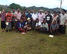 Data collectors with WWF-Pacific , Department of Fisheries and Provincial Office officials at a ercent meeting in Tabia village