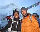 Dawa Steven Sherpa and Apa Sherpa at Everest Base Camp in May 2008.