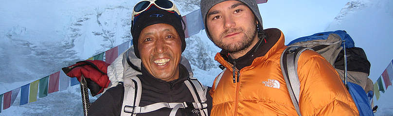 Dawa Steven Sherpa and Apa Sherpa at Everest Base Camp in May 2008.  	© Dawa Steven Sherpa / Asian Trekking