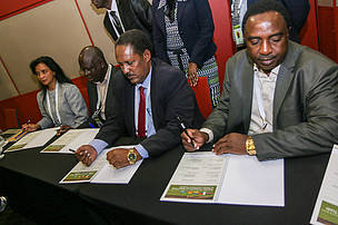 Govt. representatives sign declaration to tackle illegal logging.