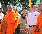 Buddhist monks with Cambodia's Fisheries Director, Dolphin Commission Chairman, and WWF-Cambodia Country Director, Michelle Owen.