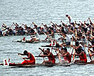 Over 100,00 people turned out to see the first-ever dragon boat race on China's Dongting Lake.